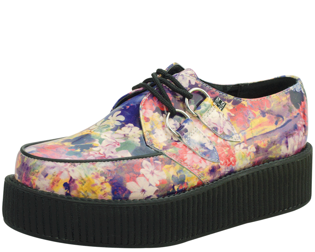 "6a09254256969 These fun floral printed creepers are made with leather uppers on a new  style Viva Mondo Creeper sole. These shoes have a sole height of 1.75"" at  the ..."