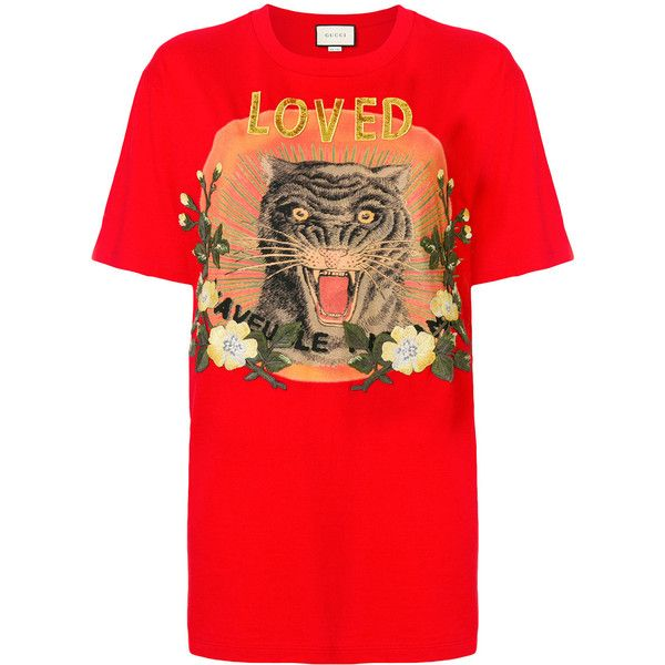 3c02dcb3 Gucci Loved T-shirt (14.297.410 IDR) ❤ liked on Polyvore featuring tops, t- shirts, red, crew t shirt, short sleeve t shirt, gucci tee, cotton tees and  crew ...