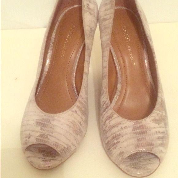 BGBG generation wedge metallic heels 6.5 Worn once, great condition. Metallic detail matte finish BCBGeneration Shoes Heels