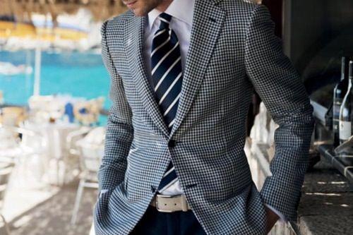 soooo chic  Houndstooth Blazer, Silk Striped-Tie, & Genuine Lamb Belt