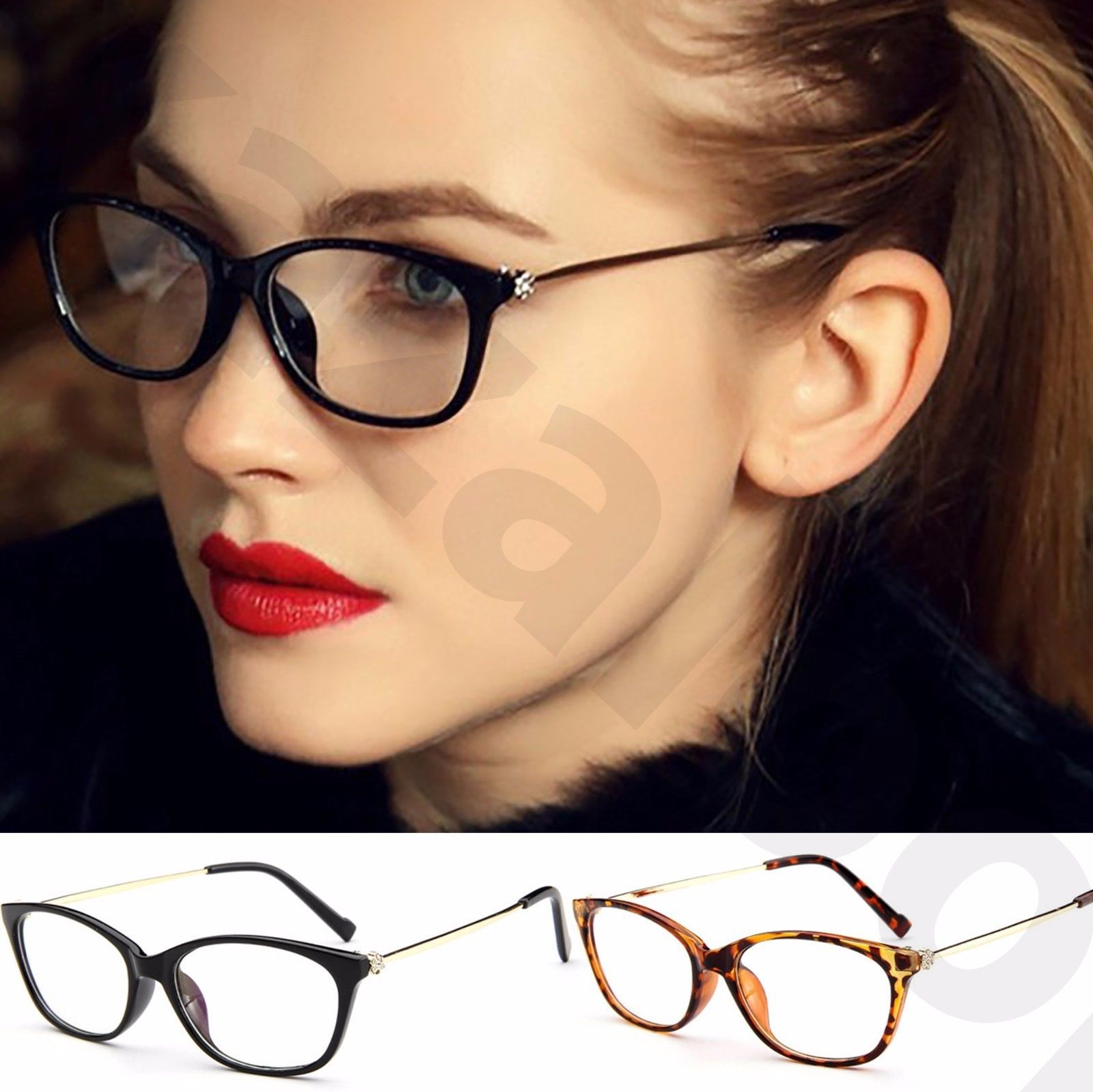 e83e2189d9 Womens Ladies Clear Lens Slim Oval Rectangle Shape Rhinestone Flower Temples