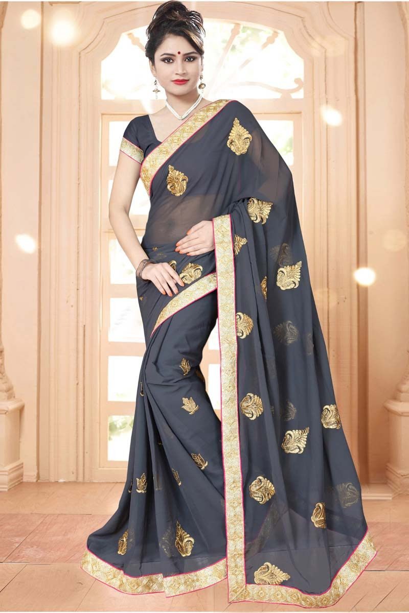 Buy Grey Chiffon Party Wear Saree Online in low price at Variation. Huge collection of Party Wear Sarees for Party, Festivals, Engagements and Ceremonies. #party #partywearsarees #sarees #onlineshopping #latest #lowprice #variation. To see more - https://www.variation.in/collections/party-wear-sarees