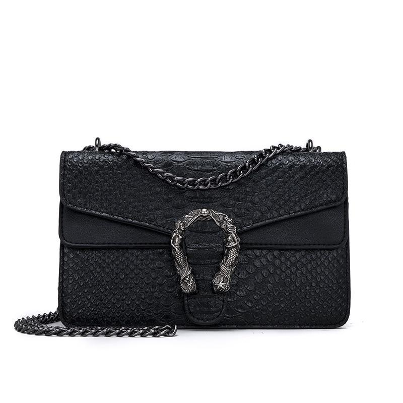Photo of Snake Fashion Brand Women Bag Alligator PU Leather Messenger Bag Designer Chain Shoulder Crossbody Bag Women Handbag Bolso Mujer