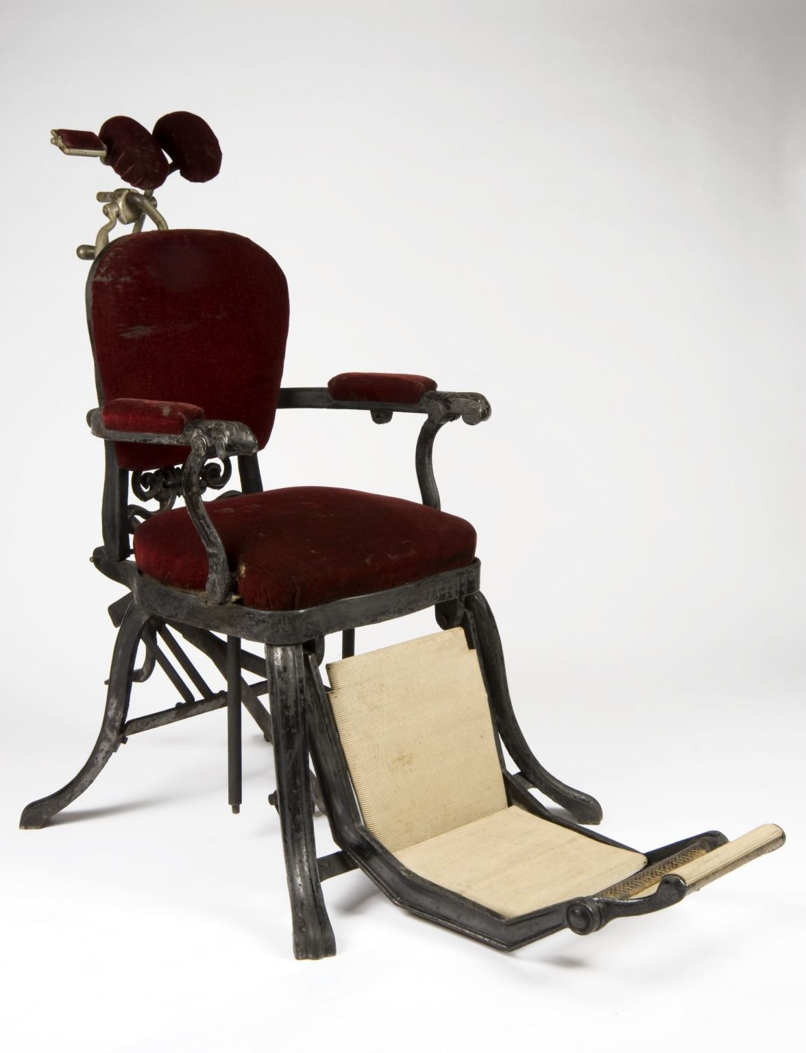 Dental Chair England 1880 1910 Plush Velvet Upholstered Seating Cast Iron Feet And A Separate Rubber Footrest Make Up This Fully Adjule