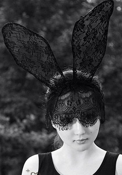 Girl in a pony tail with black lace bunny ears fascinator  4ab62aae6e2