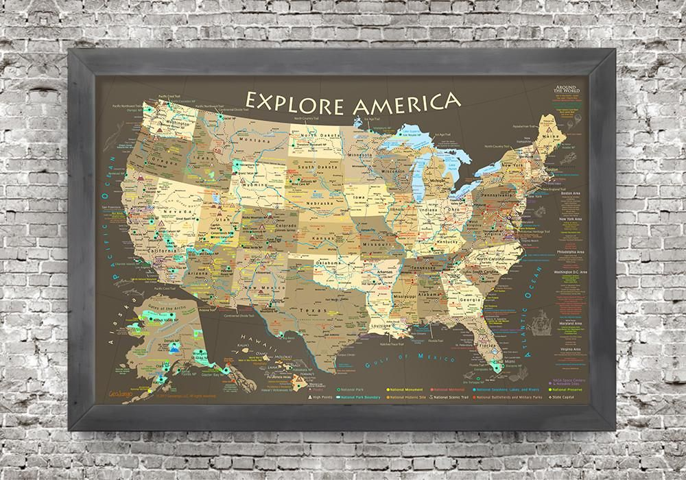 Explore America Brown Edition Usa Push Pin Map In 2018 Usa