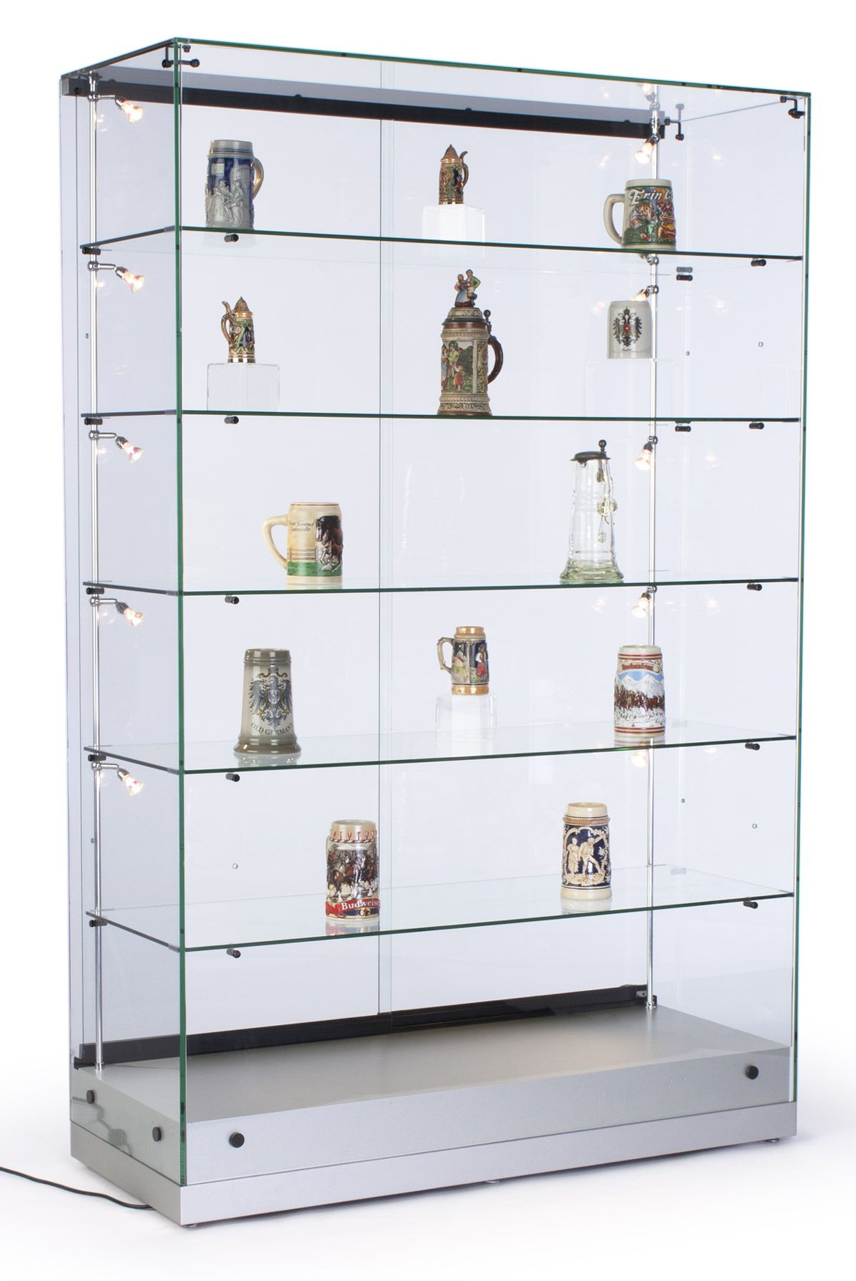 Lovely Glass Display Cabinet With 5 Height Adjustable Glass Shelves And 10 Side  Lights, Curio Cabinet With Lockable Sliding Door   Silver, MDF Base