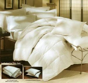 Your Wholesale Dropship Source - 3 pc Down Set/Twin233 Thread Count, 100% Cotton  10inch End to End Sewn Through Box, Double Stitched Self Piping  Grey Duck Down, 525 Fill Power  Color:White  Size: Twin 62x86  Fill Weight: 20 oz  Set Includes: 1 comforter, and 2 stnd 95/5 pillows  HypoAllergenic, Dry Clean  Made in USA of imprted materials