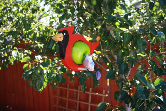 Cardinal bird feeder Fruit feeder Garden decor by abirdthing