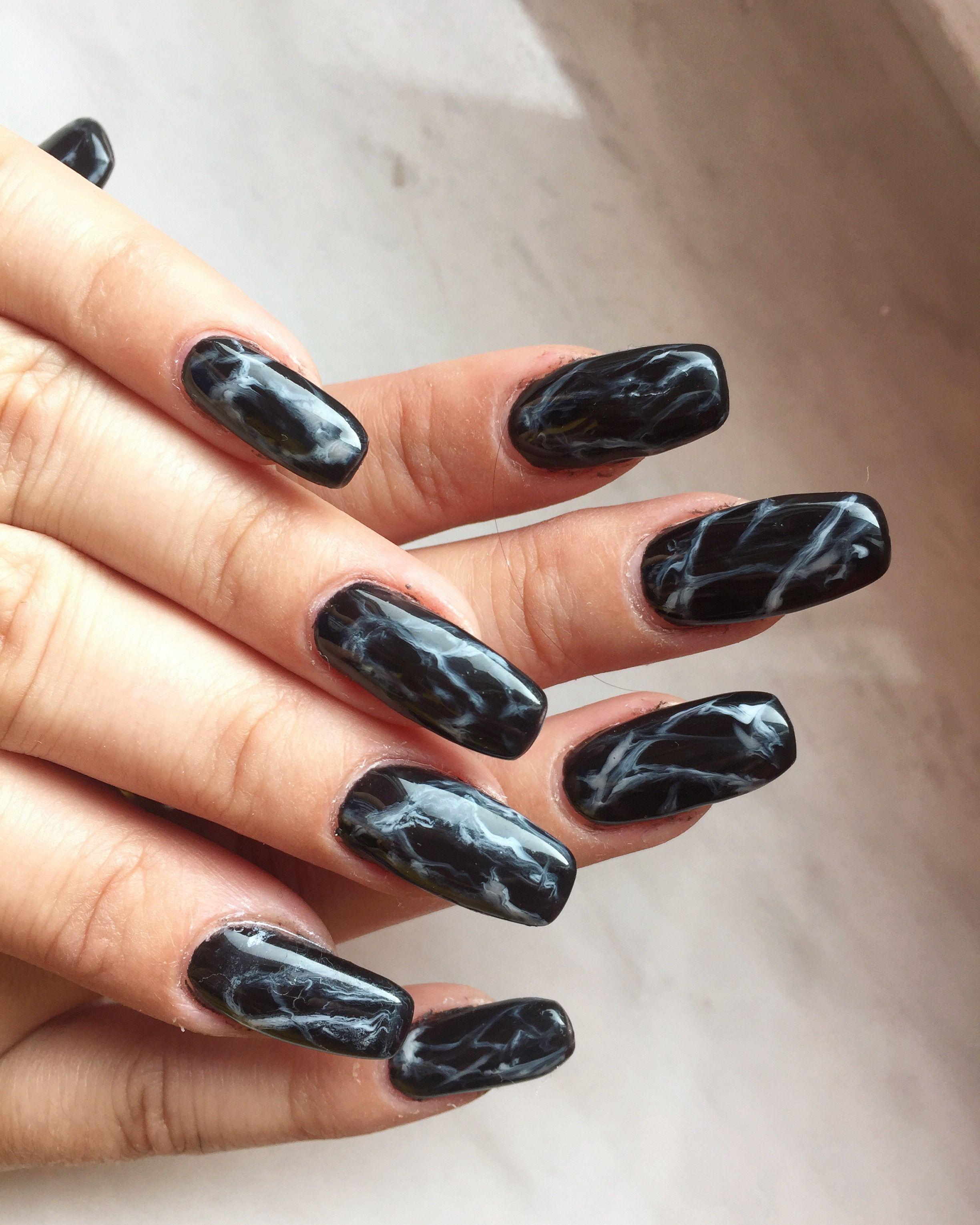 Black long marble style coffin shape nails design | Io\'s | Pinterest
