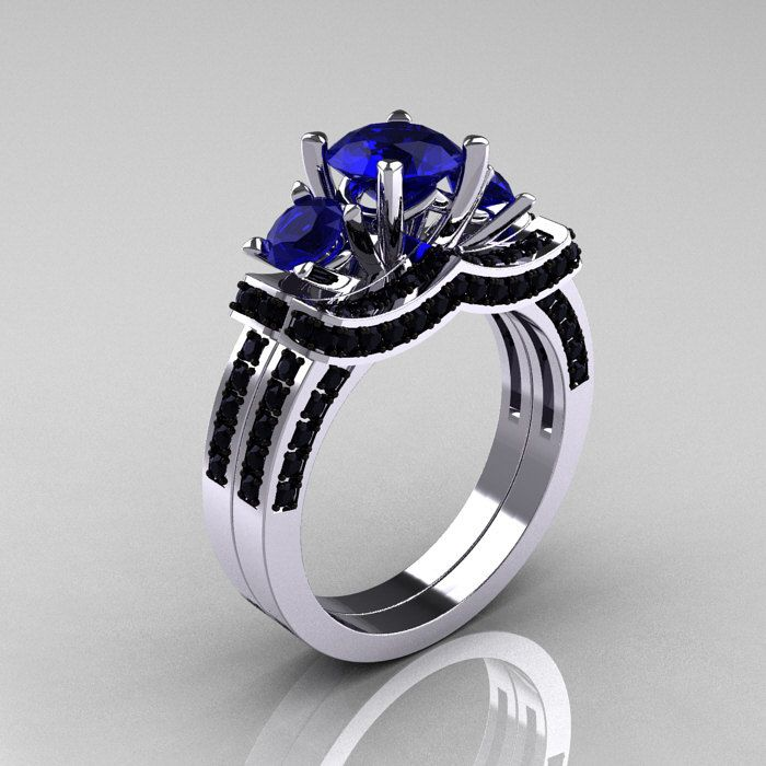 french 14k white gold three stone blue sapphire black diamond wedding ring engagement ring bridal - Black And Blue Wedding Rings