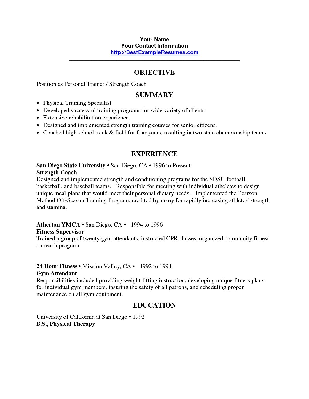 Personal Trainer Resume Objective Trainer Resume Sample