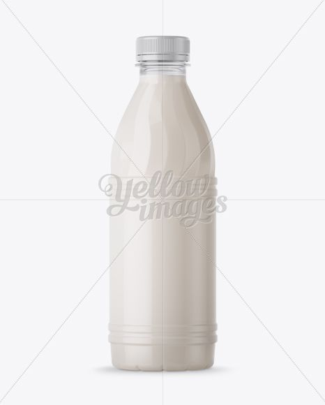 Plastic Milk Bottle Mockup - Front View