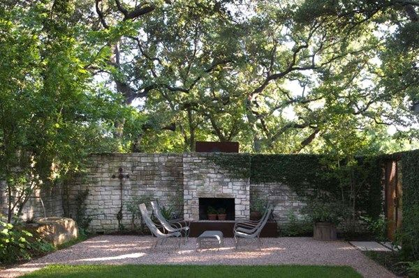 Pea Gravel Patio, Stone Fireplace Residential Retreat In Austin Ten Eyck  Landscape Architects Austin,
