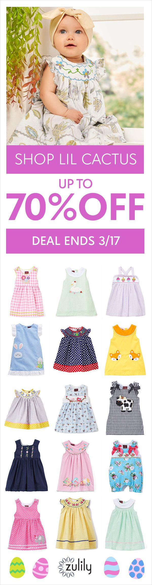 04a140e72 Sign up to shop baby, toddler, and kids Easter clothing up to 70% off. Lil  Cactus creates kids' clothing that renews closets with garden-inspired  beauty, ...
