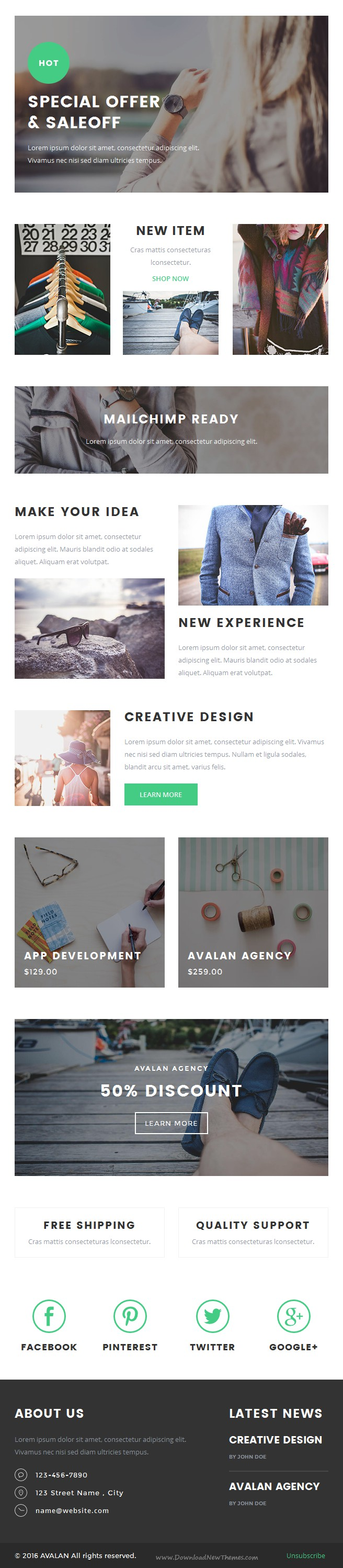 Avalan - Responsive Email Set | Responsive email, Template and ...