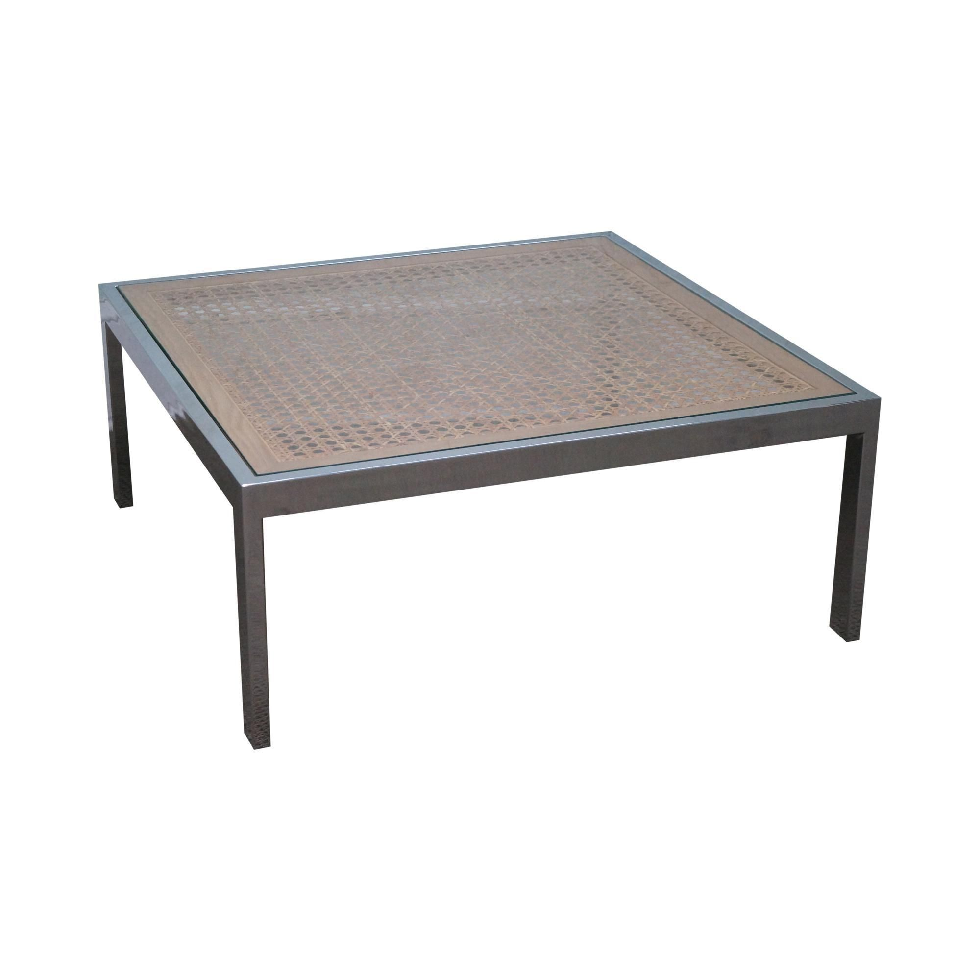 Milo Baughman Chrome & Cane Glass Top Square Coffee Table