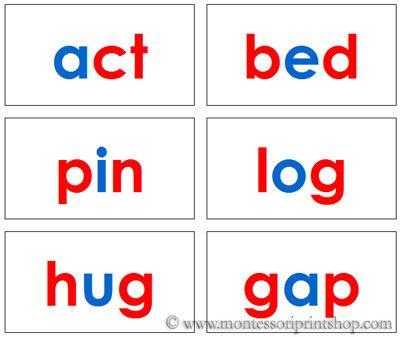 Montessori Three Letter Phonetic Word Cards