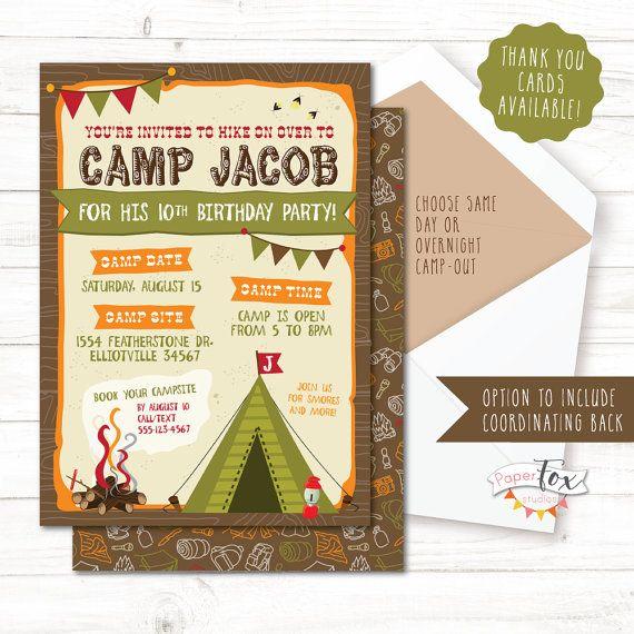 Camping Birthday Invitation Camping Birthday Party Invitation Camp