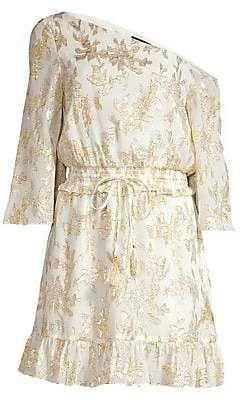 Rachel Zoe Womens Flora Metallic Silk One Shoulder Dress