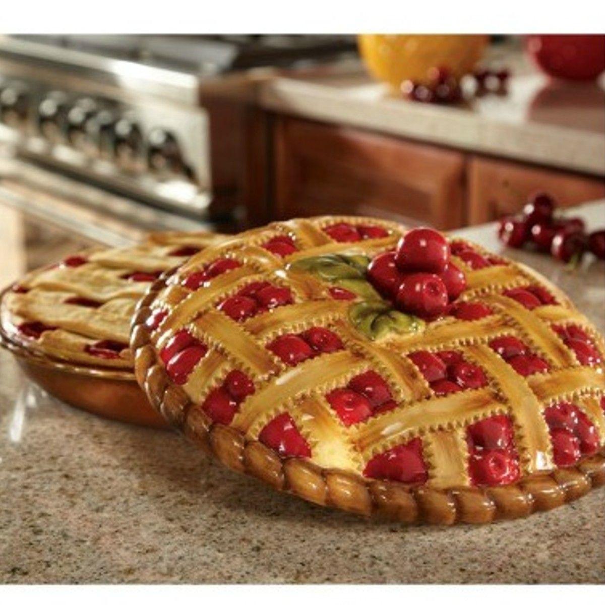 Ceramic Pie Plate Hand Painted Cherry Pie Dish and Cover & Ceramic Pie Plate Hand Painted Cherry Pie Dish and Cover | Pie plate ...