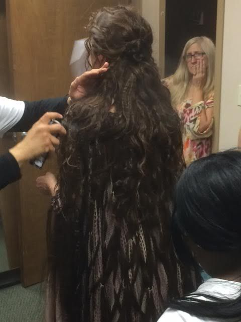 Salem Season 2.  Our hair stylist blending the wig into the dress to make it a sinuous garment.  CREEPY!  #josephporrodesigns