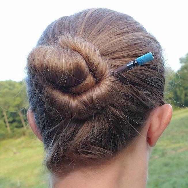 Bun Hairstyle With Beautiful Blue Kalani Hair Stick From Lilla Rose