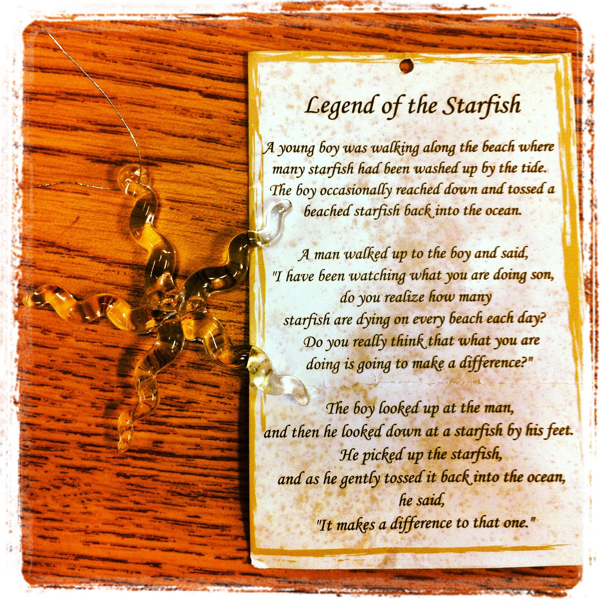 Starfish poem card - The Legend Of The Starfish
