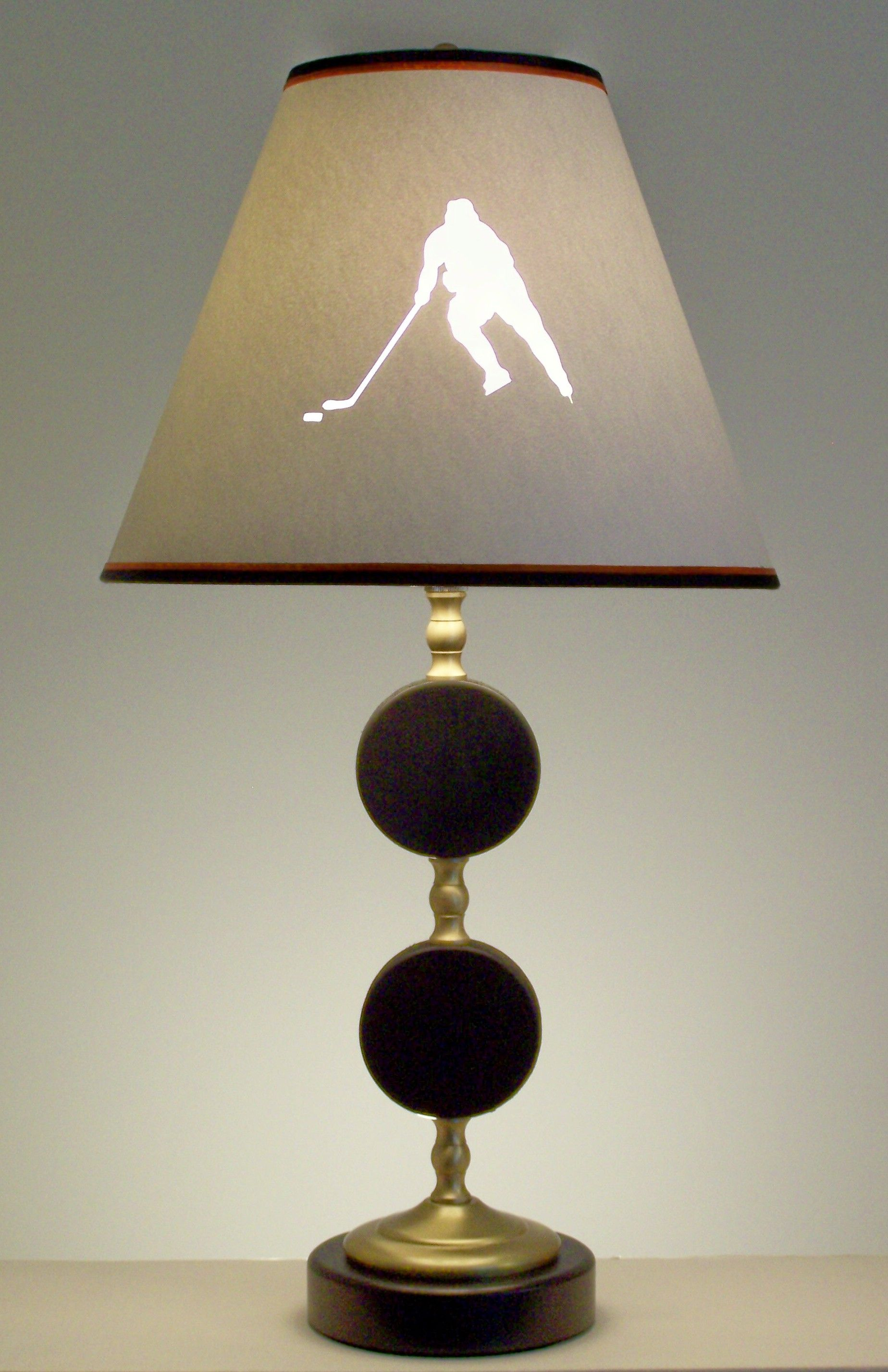 Hockey Puck Lamp With Player Silhouette Shade