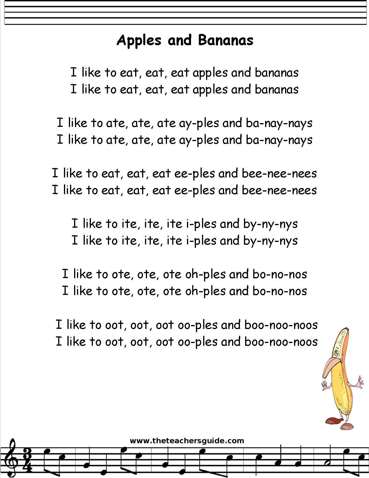 Apples And Bananas Lyrics Printout
