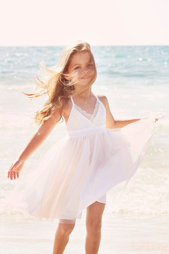 Ivory Lace And Champagne Tulle Dress Flower Girl Dress