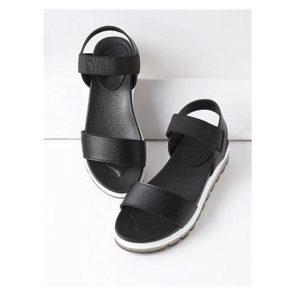 Black Contrast Sole Flatform Sandals (£25) ❤ liked on Polyvore featuring shoes, sandals, black sandals, flatform sandals, kohl shoes, black flatform shoes and black flatform sandals