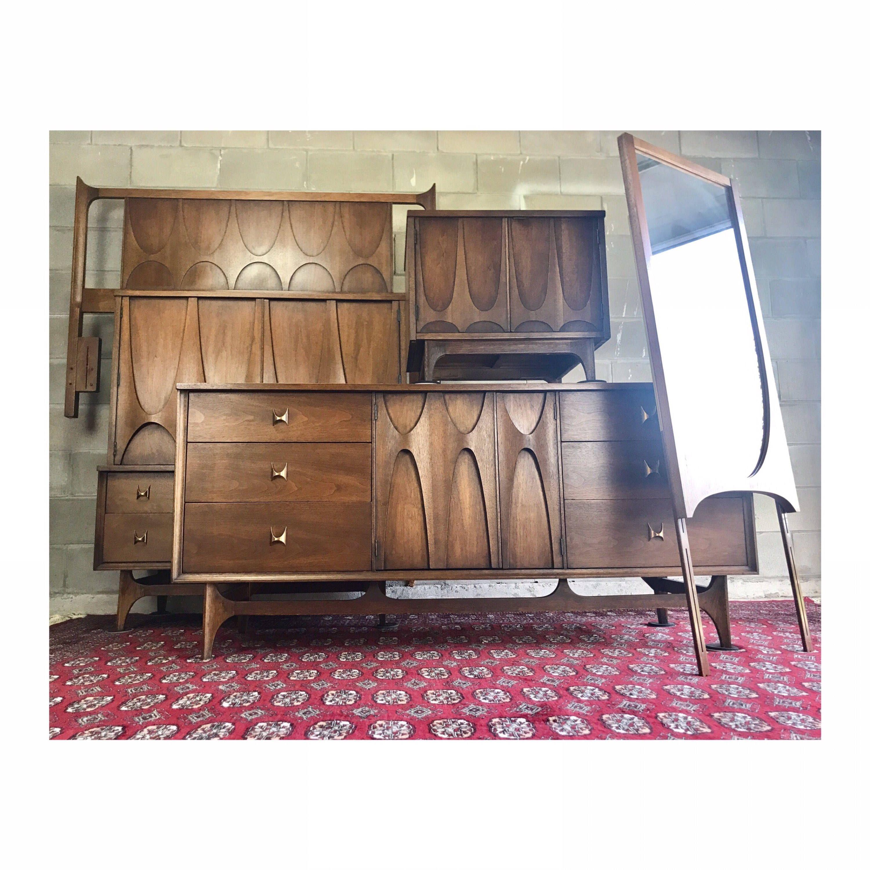 Vintage Mid Century Modern Broyhill Brasilia Queen/Full Bedroom Set ...