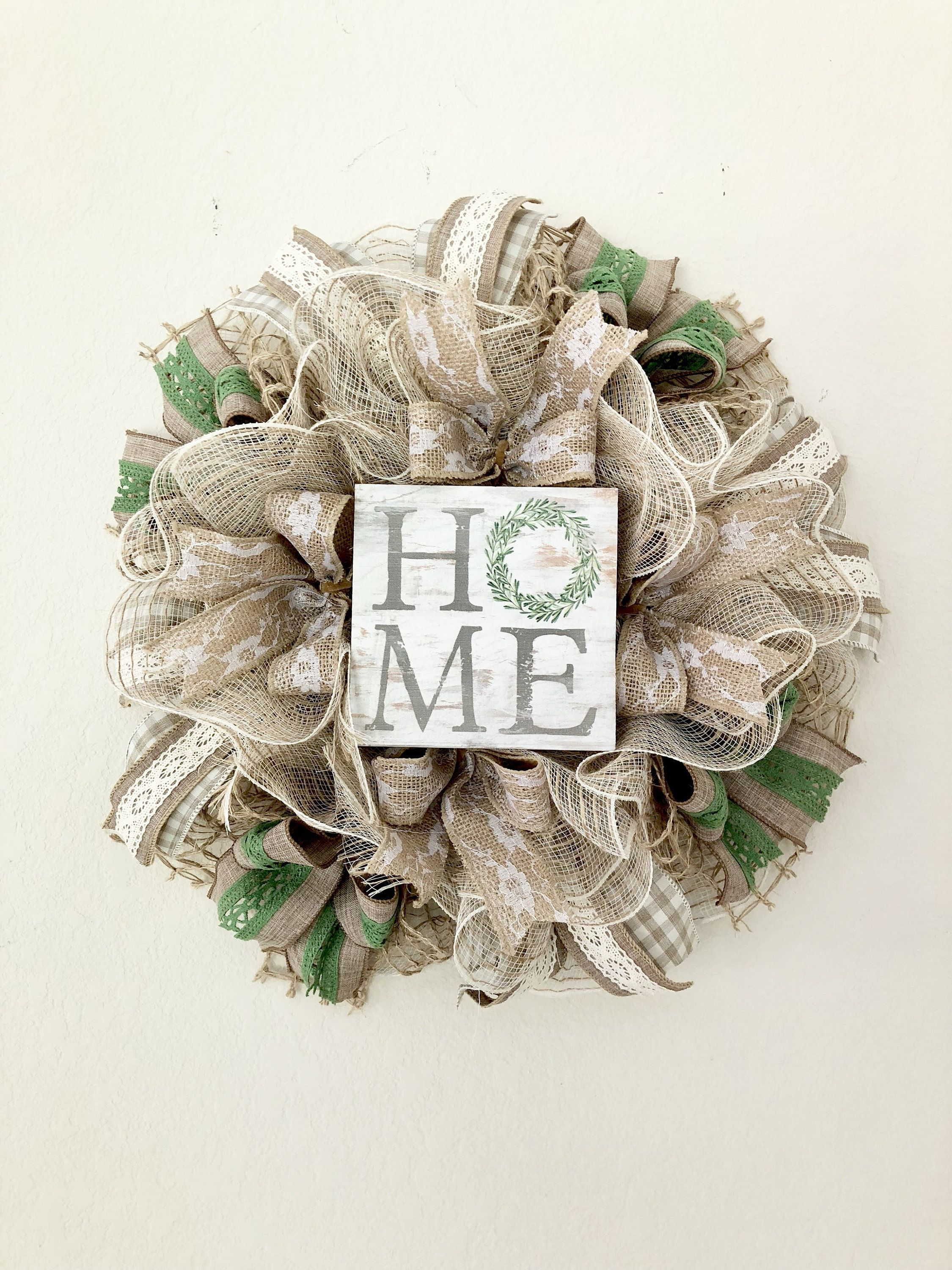 Mini Wreath,Small Size Wreath,Deco Mesh Wreath,Natural Wreath,Home Wreath,Classy Wreath,Everyday Wreath,Front