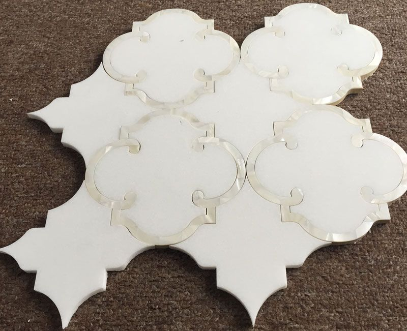 Thassos White Marble and Mother of Pearl, Water Jet Cut in ...