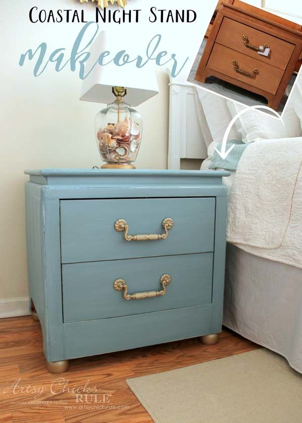 Beau Coastal Turquoise Night Stands Makeover W/Chalk Paint