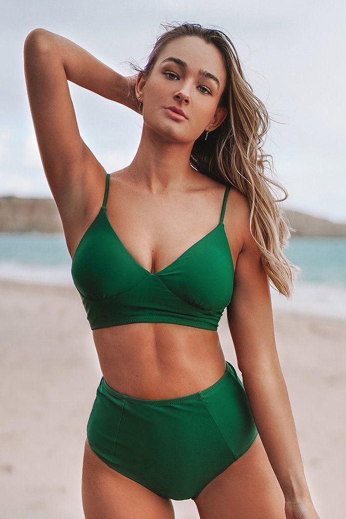Bikini De Cintura Alta Con Cordones En La Espalda Verde Bikini