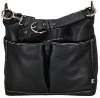 OiOi Black Leather Pocketed Hobo babynappybags.com.au