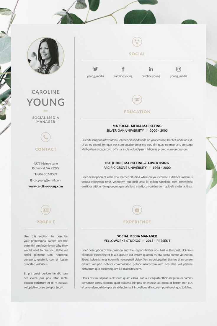 Professional  Page ResumeCv  Cover Letter Template  Our Design