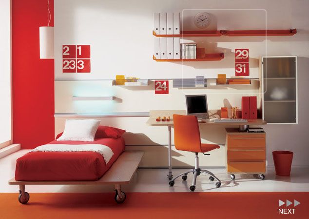 kids bedroomoutstanding kids room interior design decorating with red cover bed and desk under - Kids Bedroom Interiors