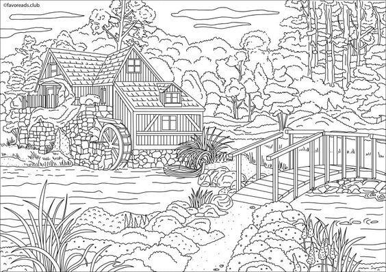 Casa De Campo Para Colorear. Haz Click En Casa En El Lago Dibujos ...