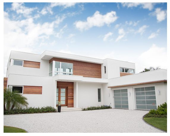 White render with cedar cladding | updating a 60's house ...