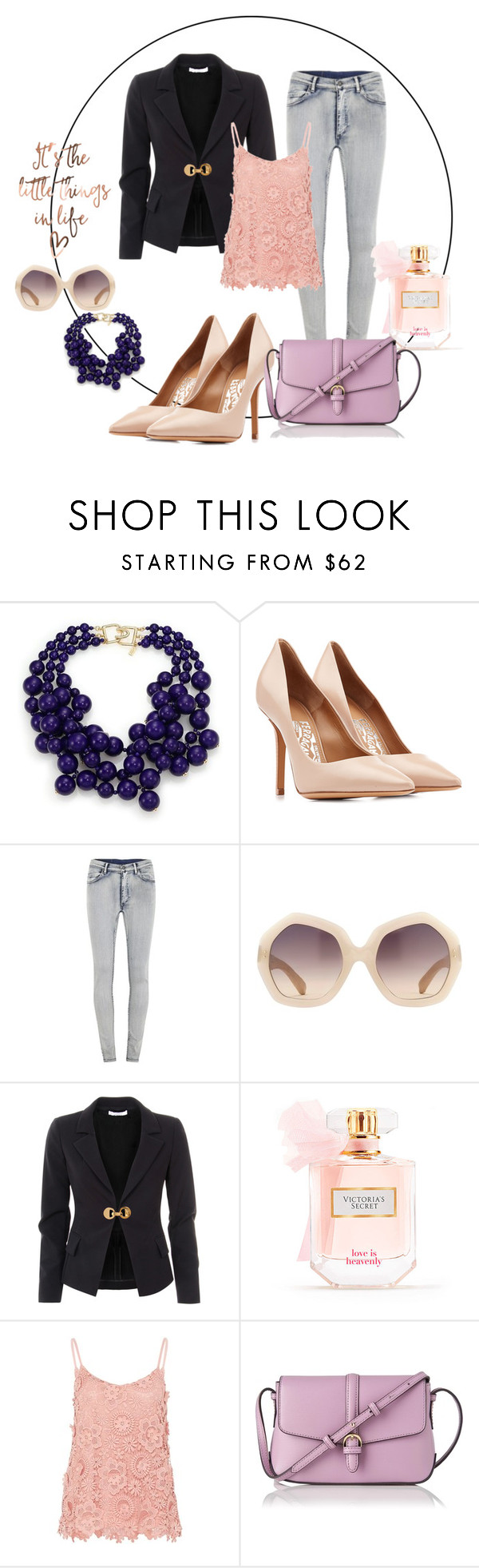 """It's a little things in life"" by black-ladybird ❤ liked on Polyvore featuring Kenneth Jay Lane, Salvatore Ferragamo, Cheap Monday, Linda Farrow, Versace, Victoria's Secret, Hallhuber and L.K.Bennett"