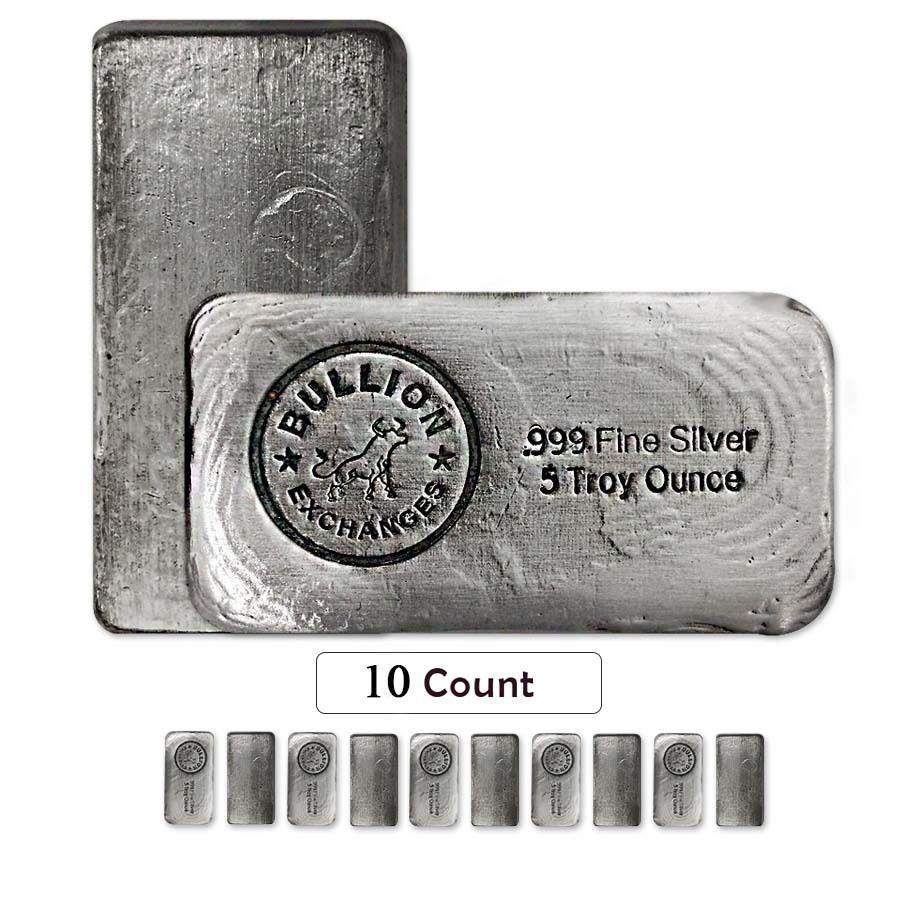 Lot Of 10 5 Oz Bullion Exchanges Silver Hand Poured Bar 999 Fine Antiqued Gold Bullion Bars Bullion Gold Bullion