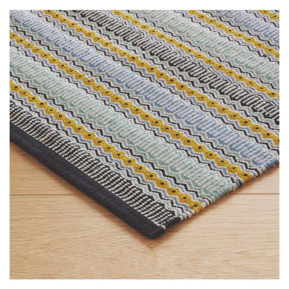 Agnes Small Blue Stripe Cotton Rug 120 X 180cm Flat Weave Rug Cotton Rug Blue Cotton Rug