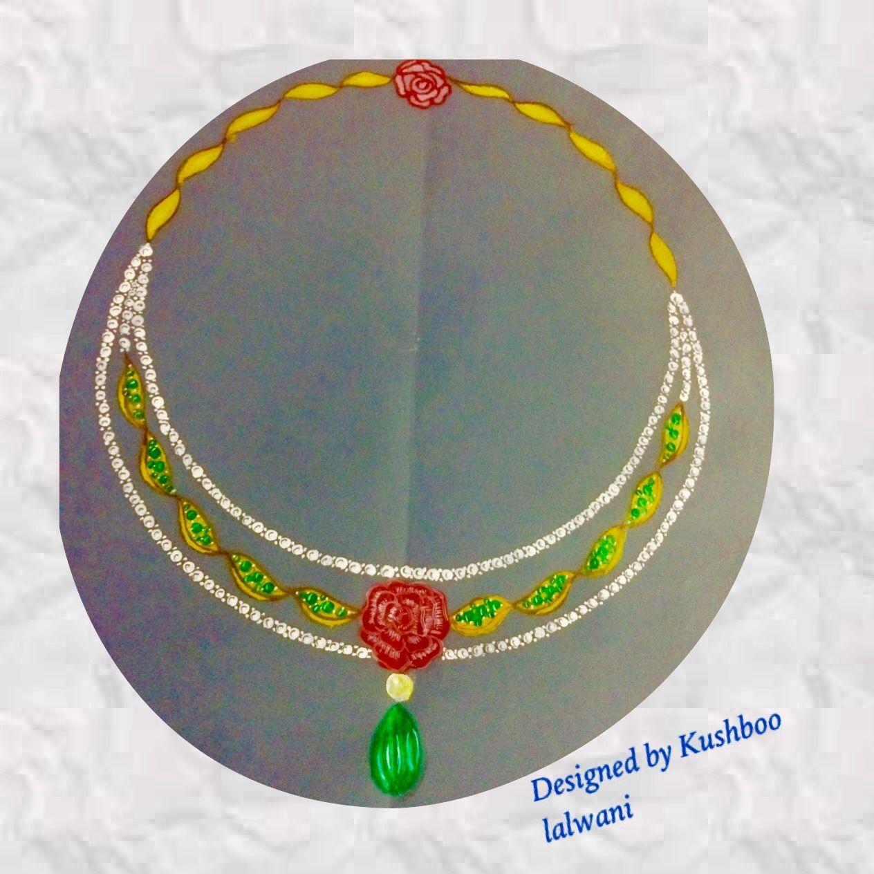 Diamond necklace with enamel rose and pendant and emerald stone a