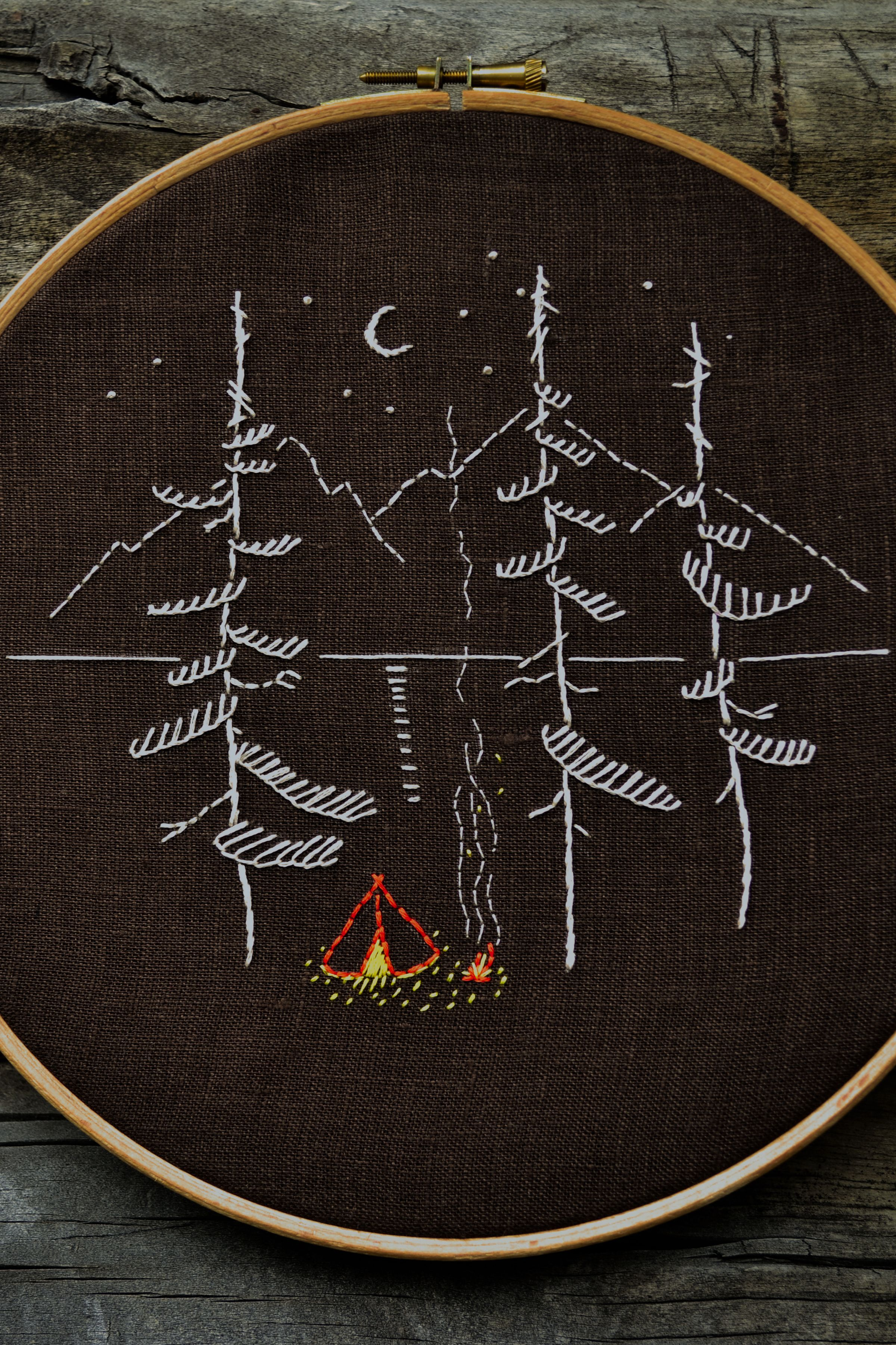 Camping embroidery pattern pdf mountains hand embroidery hand