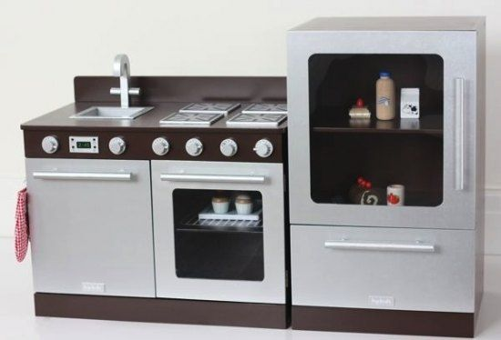 This stylish gourmet espresso toy kitchen set consists of for Matching kitchen sets