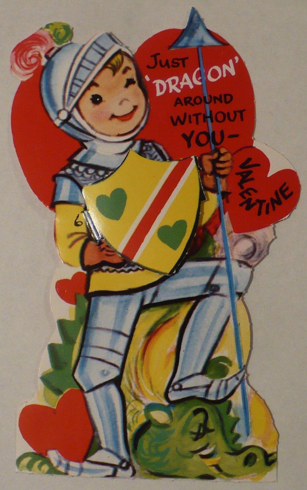 Vtg Valentine's Day Card 50's Knight Shining Armor Dragon   eBay