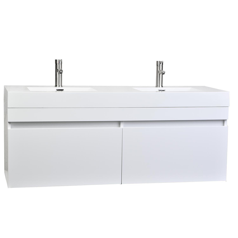 Buy 57 Inch Modern Double Sink Vanity Set In Glossy White   Black  TN T1440 HGW   Conceptbaths.com